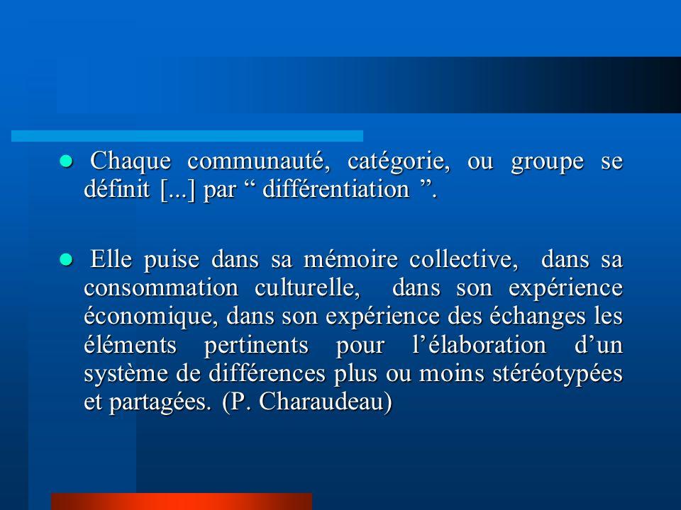 Chaque communauté, catégorie, ou groupe se définit [
